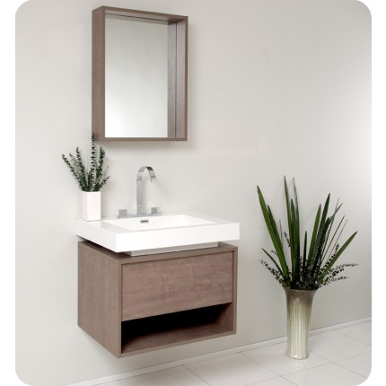 Fresca Potenza Gray Oak Modern Bathroom Vanity w/ Pop Open Drawer