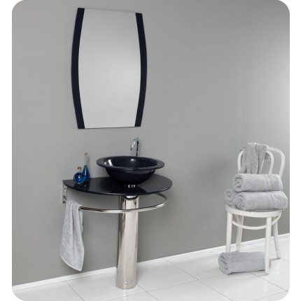 Fresca Scoperto Modern Dark Blue Glass Bathroom Vanity w/ Mirror