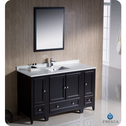 "Fresca Oxford 54"" Espresso Traditional Bathroom Vanity w/ 2 Side Cabinets"