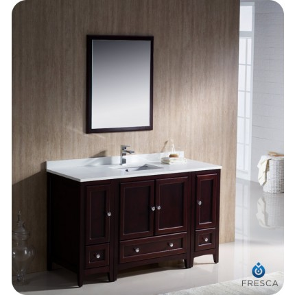 "Fresca Oxford 54"" Mahogany Traditional Bathroom Vanity w/ 2 Side Cabinets"