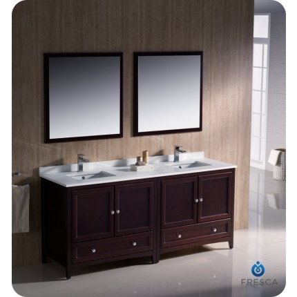 "Fresca Oxford 72"" Mahogany Traditional Double Sink Bathroom Vanity"