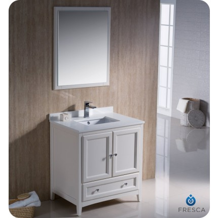 "Fresca Oxford 30"" Antique White Traditional Bathroom Vanity"