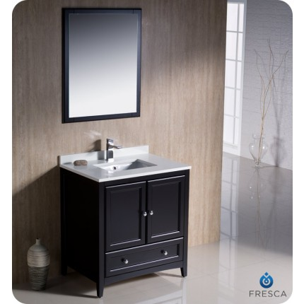 "Fresca Oxford 30"" Espresso Traditional Bathroom Vanity"