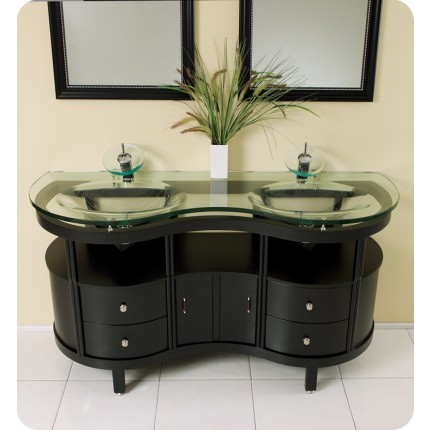 Fresca Unico Modern Bathroom Vanity w/Tempered Glass Double Sink & Counter