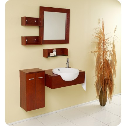 Fresca Stile Modern Bathroom Vanity w/ Mirror & Side Cabinet