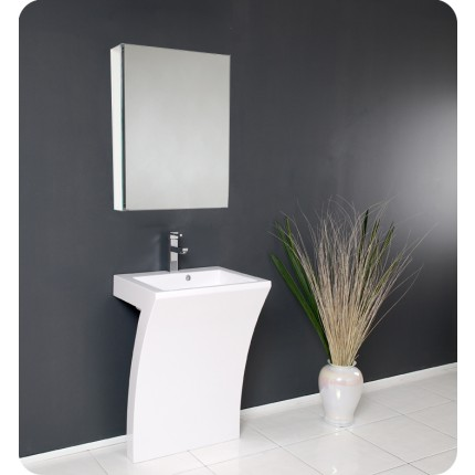 Fresca Quadro White Pedestal Sink - Modern Bathroom Vanity