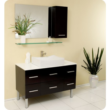 Fresca Distante Espresso Modern Bathroom Vanity w/ Mirror & Side Cabinet