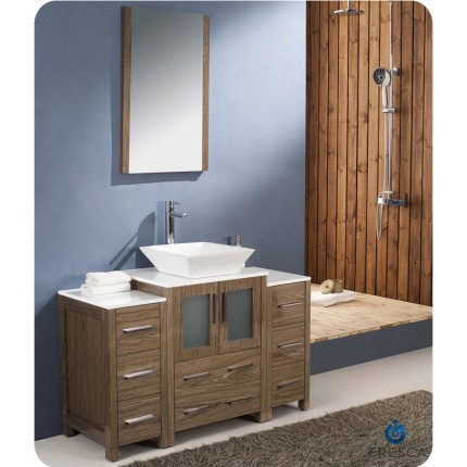 "Fresca Torino 48"" Walnut Modern Bathroom Vanity w/ 2 Side Cabinets & Vessel Sink"