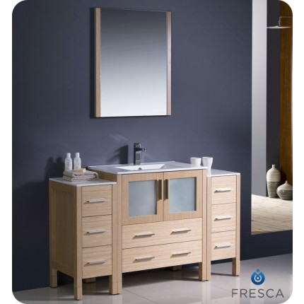 "Fresca Torino 54"" Light Oak Modern Bathroom Vanity w/ 2 Side Cabinets & Integrated Sink"