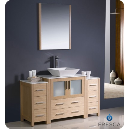 "Fresca Torino 54"" Light Oak Modern Bathroom Vanity w/ 2 Side Cabinets & Vessel Sink"