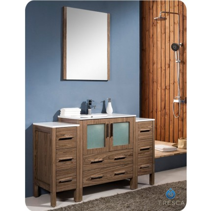 "Fresca Torino 54"" Walnut Modern Bathroom Vanity w/ 2 Side Cabinets & Integrated Sink"