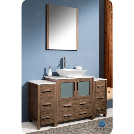 "Fresca Torino 54"" Walnut Modern Bathroom Vanity w/ 2 Side Cabinets & Vessel Sink"