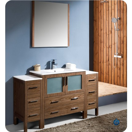 "Fresca Torino 60"" Walnut Modern Bathroom Vanity w/ 2 Side Cabinets & Integrated Sink"