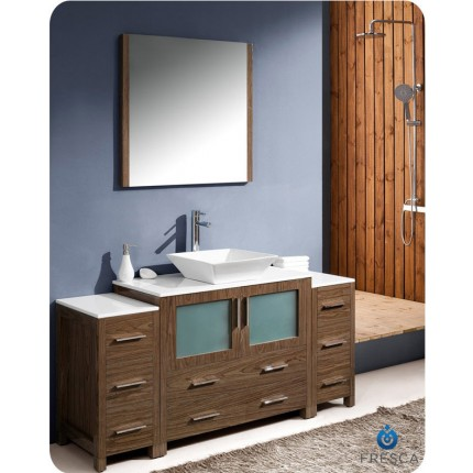 "Fresca Torino 60"" Walnut Modern Bathroom Vanity w/ 2 Side Cabinets & Vessel Sink"