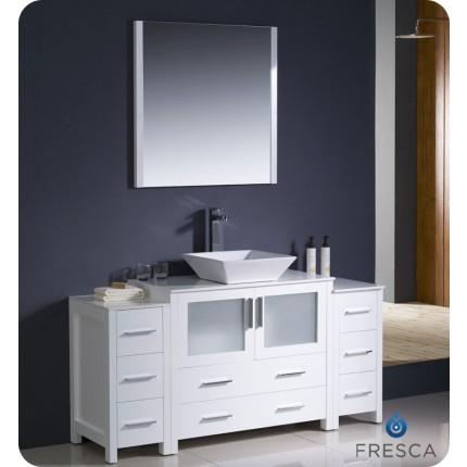 "Fresca Torino 60"" White Modern Bathroom Vanity w/ 2 Side Cabinets & Vessel Sink"