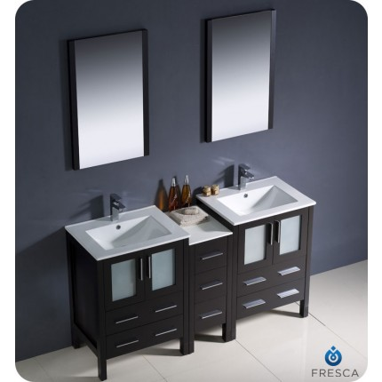 "Fresca Torino 60"" Espresso Modern Double Sink Bathroom Vanity w/ Side Cabinet & Integrated Sinks"