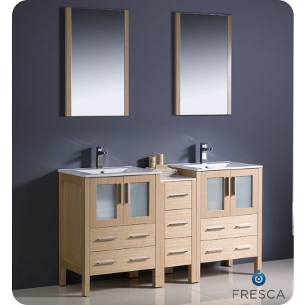 "Fresca Torino 60"" Light Oak Modern Double Sink Bathroom Vanity w/ Side Cabinet & Integrated Sinks"