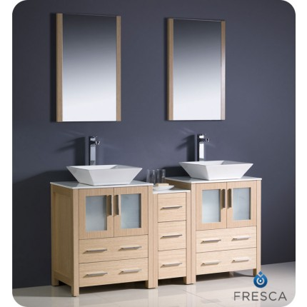 "Fresca Torino 60"" Light Oak Modern Double Sink Bathroom Vanity w/ Side Cabinet & Vessel Sinks"