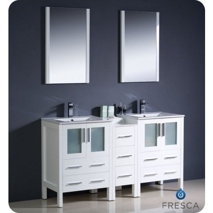 "Fresca Torino 60"" White Modern Double Sink Bathroom Vanity w/ Side Cabinet & Integrated Sinks"