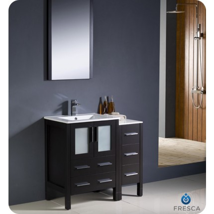 "Fresca Torino 36"" Espresso Modern Bathroom Vanity w/ Side Cabinet & Integrated Sink"