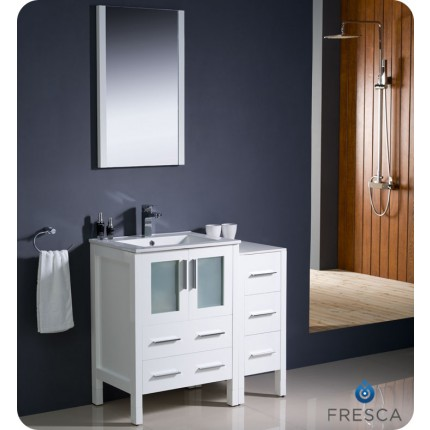 "Fresca Torino 36"" White Modern Bathroom Vanity w/ Side Cabinet & Integrated Sink"