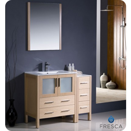 "Fresca Torino 42"" Light Oak Modern Bathroom Vanity w/ Side Cabinet & Integrated Sink"