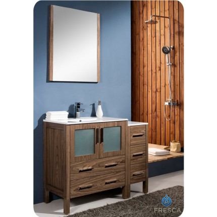 "Fresca Torino 42"" Walnut Modern Bathroom Vanity w/ Side Cabinet & Integrated Sink"
