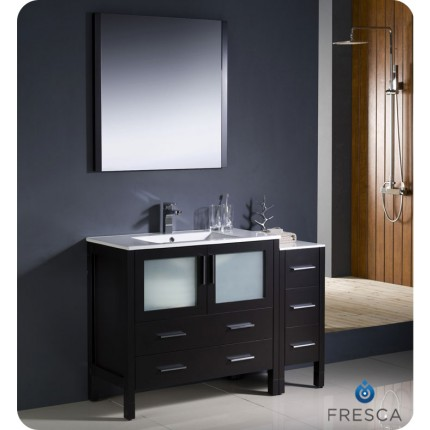 "Fresca Torino 48"" Espresso Modern Bathroom Vanity w/ Side Cabinet & Integrated Sinks"