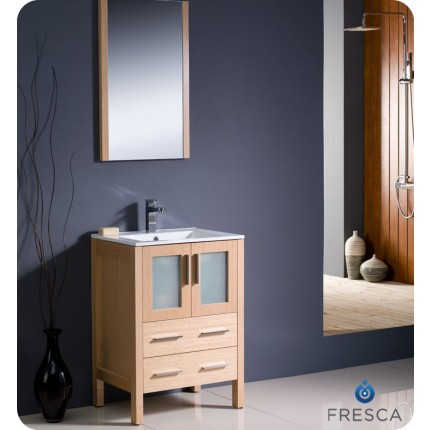 "Fresca Torino 24"" Light Oak Modern Bathroom Vanity w/ Integrated Sink"