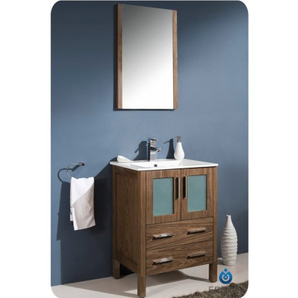 "Fresca Torino 24"" Walnut Modern Bathroom Vanity w/ Integrated Sink"