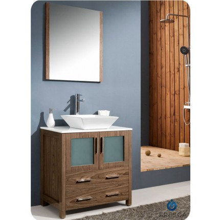 "Fresca Torino 30"" Walnut Modern Bathroom Vanity w/ Vessel Sink"
