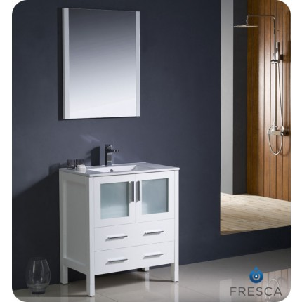 "Fresca Torino 30"" White Modern Bathroom Vanity w/ Integrated Sink"