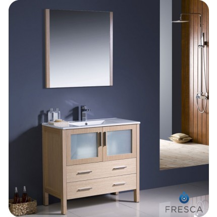 "Fresca Torino 36"" Light Oak Modern Bathroom Vanity w/ Integrated Sink"
