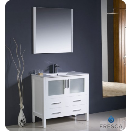 "Fresca Torino 36"" White Modern Bathroom Vanity w/ Integrated Sink"