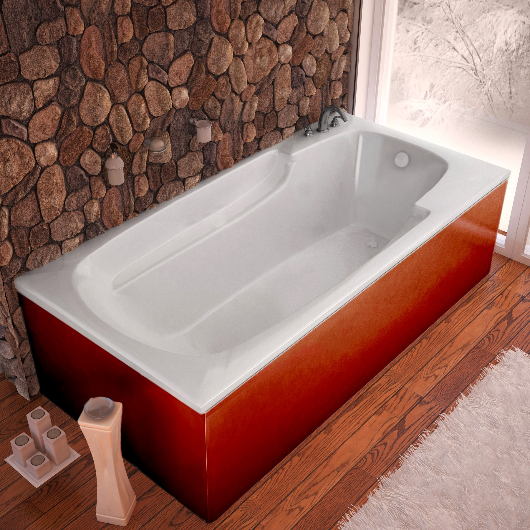 Venzi Aesis 60 x 32 Rectangular Bathtub with Reversible Drain