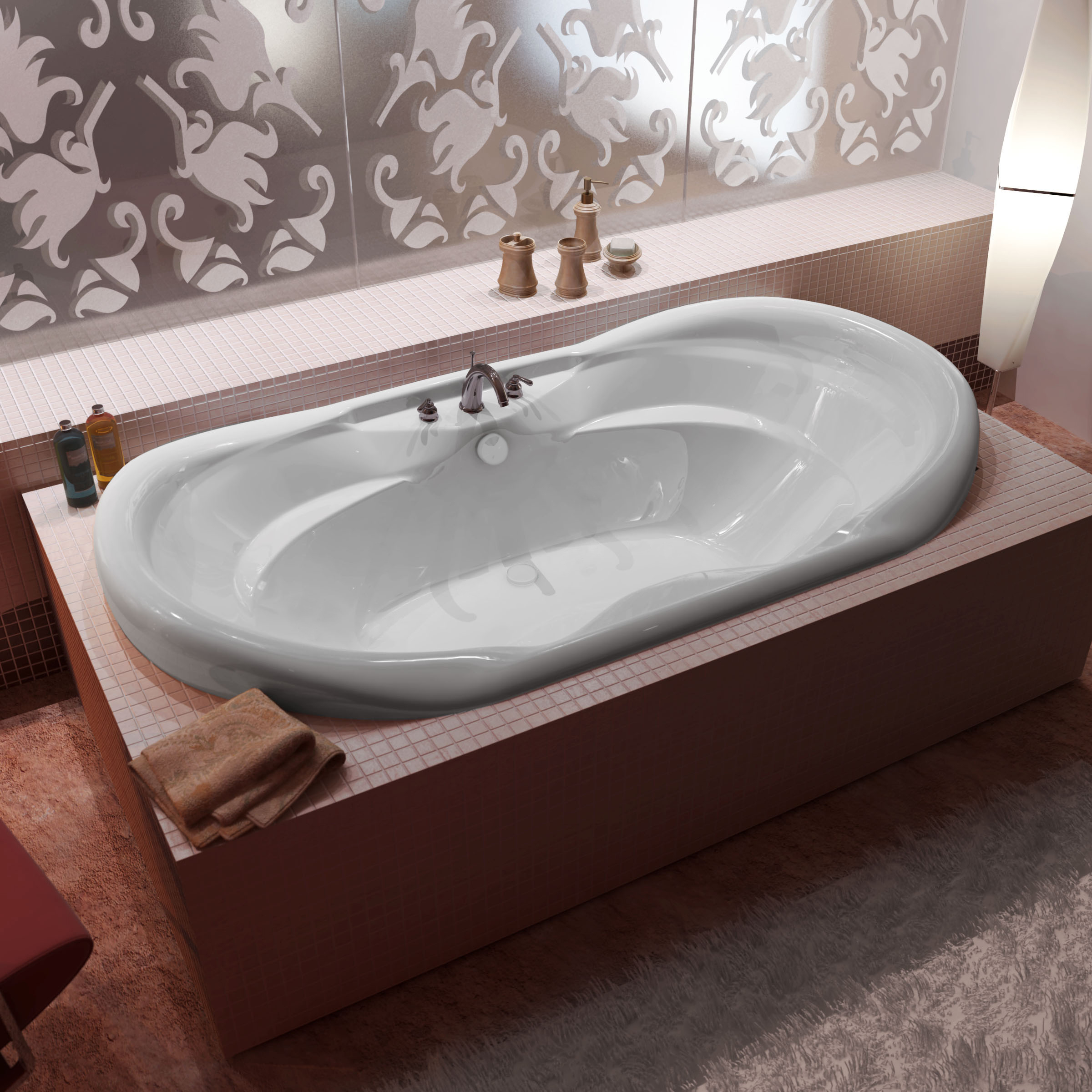 Venzi Aline 70 x 41 Oval Bathtub with Center Drain
