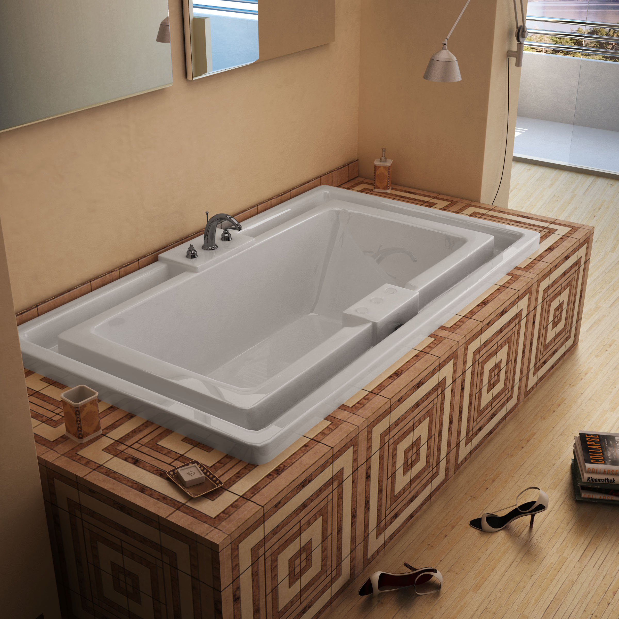 Venzi Celio 78 x 46 Endless Flow Bathtub with Center Drain