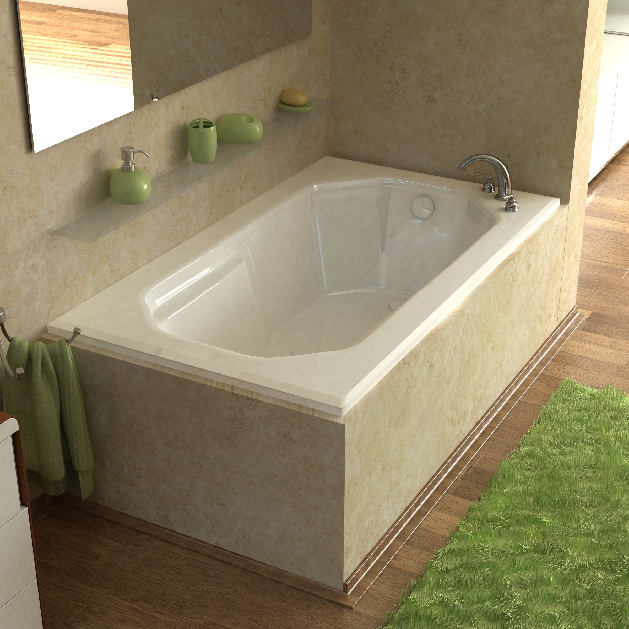 Venzi Irma 60 x 36 Rectangular Bathtub with Reversible Drain
