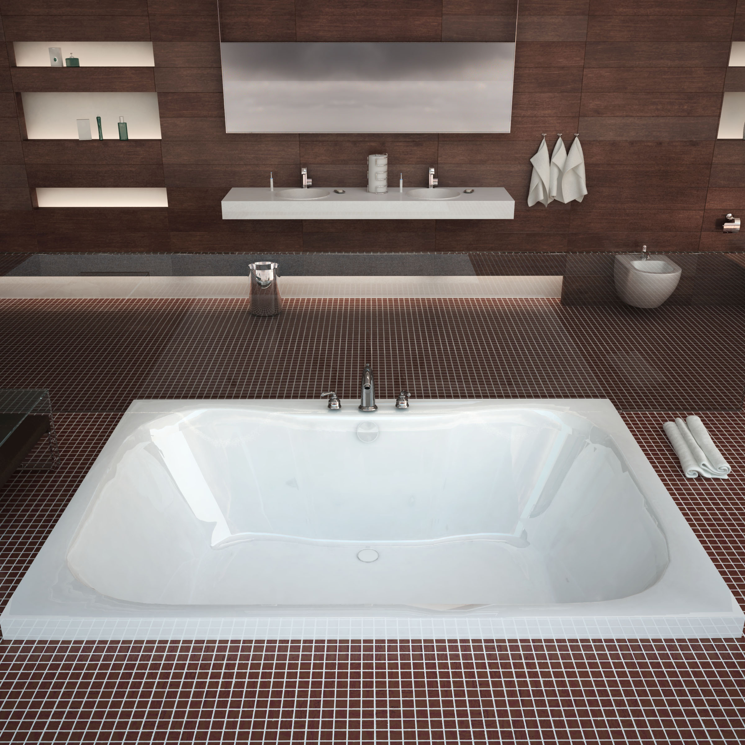 Venzi Flora 60 x 48 Rectangular Bathtub with Center Drain