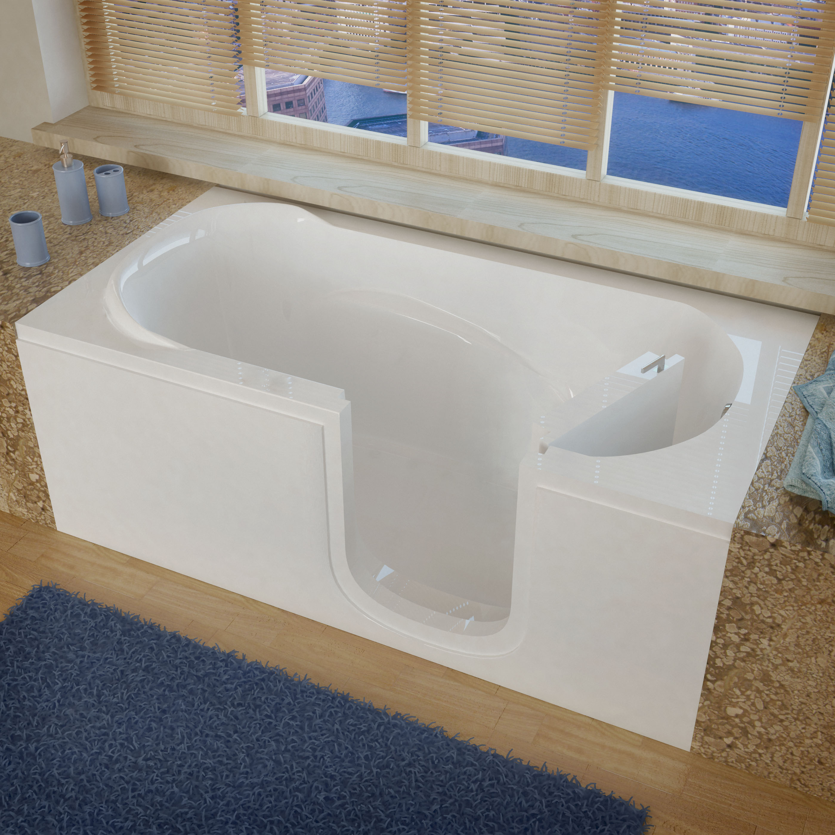 Venzi 60 x 30 Right Drain White Step In Walk In Bathtub